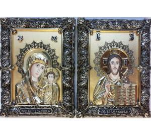 Венчальная пара икон Господь и Божия Матерь Казанская (Ос-МВГП33с)