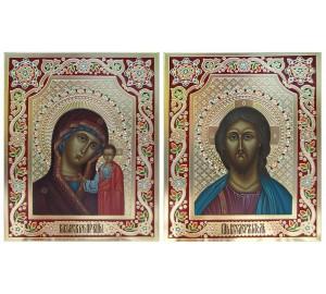 Венчальная пара икон Господь и Божья Матерь Казанская - писаные иконы с сусальным золотом (Дм-25)