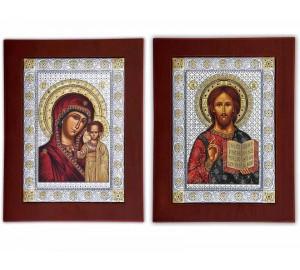 Вінчальна пара ікон Христос і Божа Матір Казанська (EKBXAG)