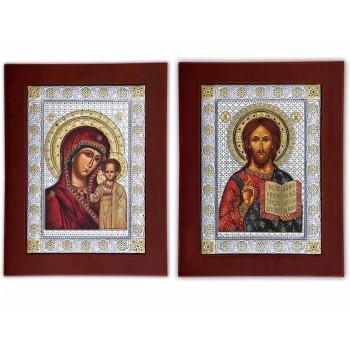 Венчальная пара икон Христос и  Божья Матерь Казанская (EKBXAG)