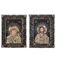 Венчальная пара икон Иисус Христос и Божия Матерь Казанская (Ос-МВГП33)