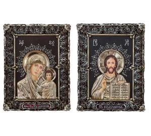Вінчальна пара ікон Ісус Христос і Божа Матір Казанська (Ос-МВГП33)