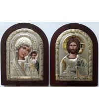 Венчальная пара икон Иисус Христос и Казанская Божья Матерь (Brown)