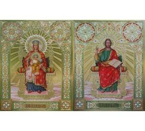Венчальная пара икон с иконой Божией Матери Державная - писаные иконы с сусальным золотом (Дм-18)