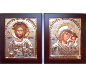 Венчальная пара Спаситель и Божья Матерь Казанская - иконы с серебром 15*19 см (GOLD)