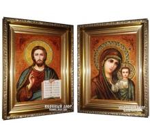 Венчальная пара янтарных икон Христос и Богородица Казанская (арпб-01)