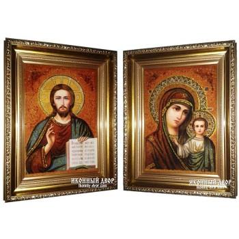Вінчальна пара бурштинових ікон Христос і Богородиця Казанська (арпб-01)