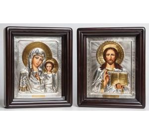 Вінчальні ікони Божа Матір Казанська і Господь Вседержитель - писані ікони з сріблом (Хм-49)