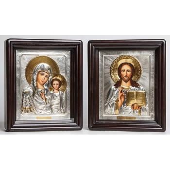 Венчальные иконы Божья Матерь Казанская и Господь Вседержитель - писаные иконы с серебром (Хм-49)