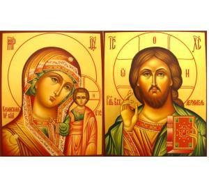 Венчальные иконы Господь и Казанская Богородица - иконы для свадьбы (Гр-71)