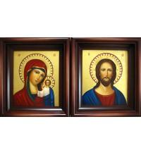 Вінчальні ікони Господь Вседержитель і Божа Матір Казанська - писані ікони (Гр-58)