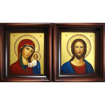 Венчальные иконы Господь Вседержитель и Божья Матерь Казанская - писаные иконы (Гр-58)