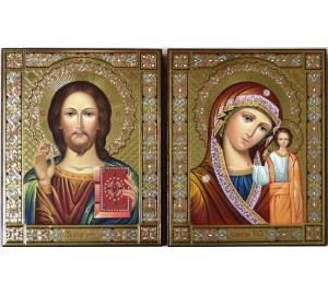 Венчальные иконы Иисус Христос и Казанская Богородица - писаные иконы (Гр-93)
