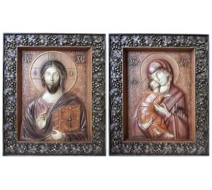 Венчальные иконы Спаситель и Божья Матерь Владимирская (ВБ-01)