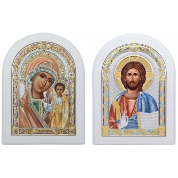 Венчальные иконы Спаситель и Казанская Божья Матерь (001/004-CW)