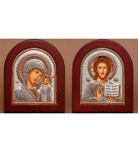 Венчальный набор Спаситель и Казанская Божья Матерь - греческие иконы с серебром (EK181/182)
