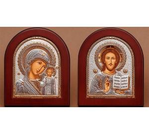 Вінчальні ікони спасителя і Казанська Божа Матір - грецькі ікони з сріблом (EK181/182)