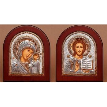 Венчальные иконы Спаситель и Казанская Божья Матерь - греческие иконы с серебром (EK181/182)