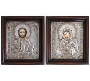 Венчальные иконы Владимирская Божья Матерь и Господь Вседержитель - великолепные иконы в окладе с серебром (Гр-87)