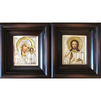 Венчальный набор икон Иисус Христос и Казанская Божья Матерь - писаные иконы (Гр-76)