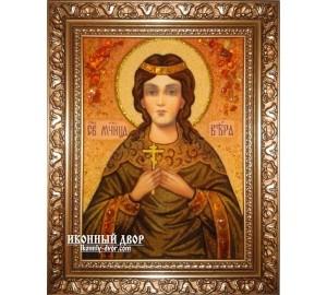 Віра - іменна ікона з бурштину ручної роботи (ар-198)