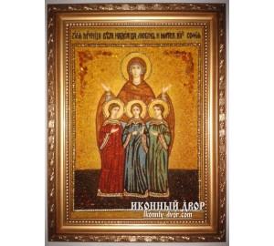 Вера, Надежда, Любовь и мать их София - Чудесная янтарная икона  (ар-168)