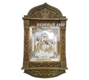 Вера, Надежда, Любовь и мать их София - икона с серебром в резном киоте (ЮЛ-20)