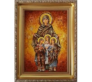 Вера, Надежда, Любовь и мать их София - икона с янтарем  (ар-82)