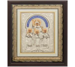 Вера, Надежда, Любовь и мать их София - икона в медном окладе с серебром, киот (ЮЛ-01)