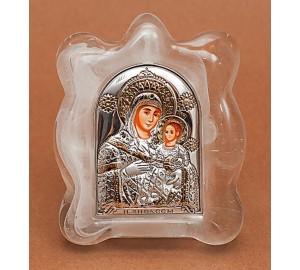 Вифлеемская Богородица - Красивая изящная икона в муранском стекле, серебро и позолота (EK1MAG Вифлеемская)