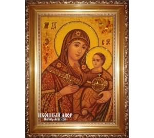 Віфлеємська Божа Матір - Чудотворна янтарна ікона ручної роботи (ар-119)