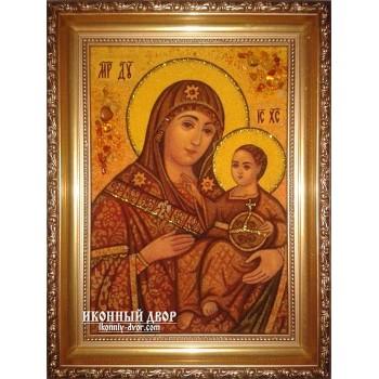 Вифлеемская Божья Матерь - Чудотворная янтарная икона ручной работы (ар-119)