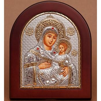 Віфлеємська ікона Божої Матері - Красива Ікона з Греції з сріблом та позолотою (GOLD)