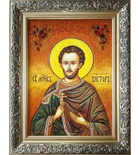 Виктор Дамасский - икона из янтаря, ручная работа (ар-267)