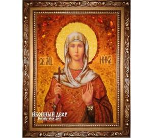 Виктория (Ника) - именная икона ручной работы из янтаря (ар-209)
