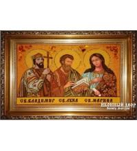 Владимир, Марина, Лука - Семейная икона из янтаря (ар-150)