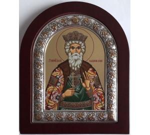 Владимир равноапостольный  - именная икона из Греции, с серебром 15*19 см (EK304-081XAG)