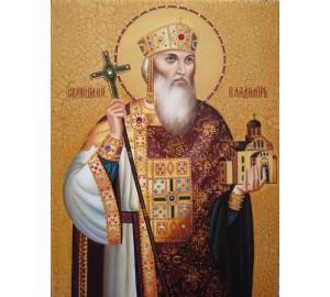 Владимир Великий, Святой Князь - восхитительная писаная икона (Гр-11)
