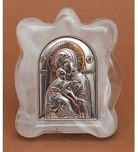 Владимирская Богородица - Икона в муранском стекле с серебром и позолотой (EK1MAG Владимирская)