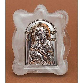 Володимирська Богородиця - Ікона в муранском склі з сріблом та позолотою (EK1MAG Володимирська)