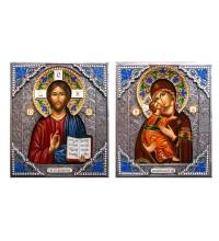 Володимирська Божа Матір і Господь Вседержитель - писані ікони в красивому окладі з сріблом (Гр-44)