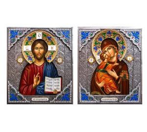 Владимирская Божья Матерь и Господь Вседержитель - писаные иконы в красивом окладе с серебром (Гр-44)