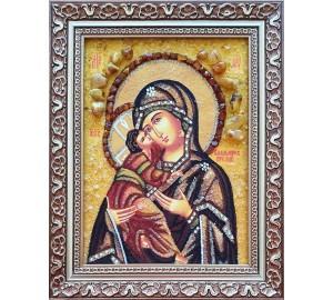 Владимирская икона Богородицы - икона из янтаря (ар-345)