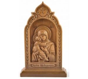Владимирская икона Божьей Матери - резная икона из дерева (ДВ-14)
