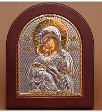 Владимирская икона Божией Матери - Икона из Греции с серебром и позолотой (GOLD)