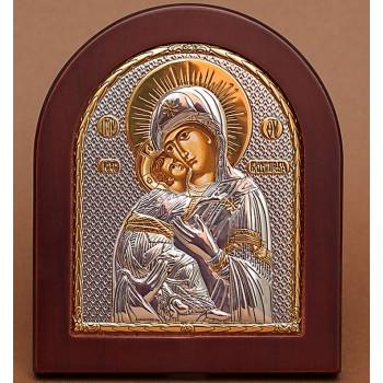 Володимирська ікона Божої Матері, Ікона з Греції з сріблом та позолотою (GOLD)