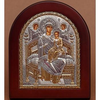 Всецарица - Греческая икона с серебром и позолотой (GOLD)