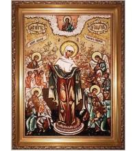 Всех скорбящих радость - Красивя икона из янтаря, ручная работа (ар-182)