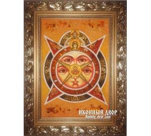 Всевидящее Око Божие - Икона ручной работы из янтаря (ар-120)