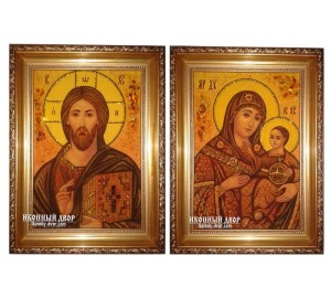 Янтарные иконы Спаситель и Вифлеемская Божья Матерь  (ар-154)